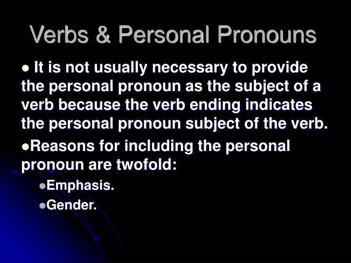 Verbs & Personal Pronouns