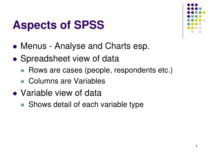 Aspects of SPSS