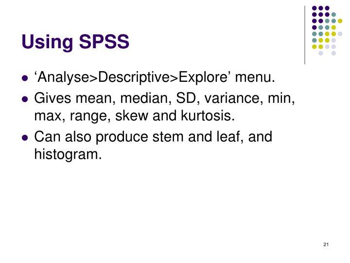 Using SPSS