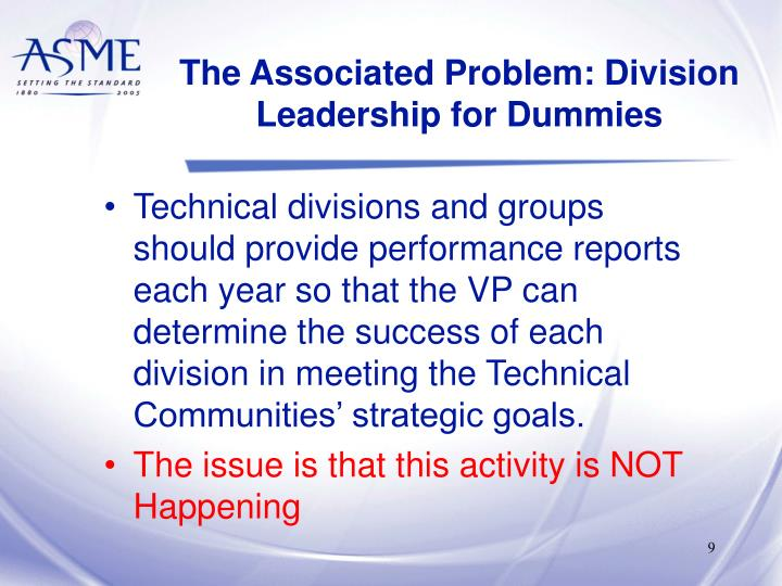 The Associated Problem: Division Leadership for Dummies