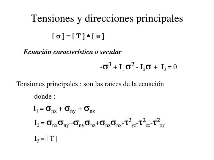 Tensiones y direcciones principales