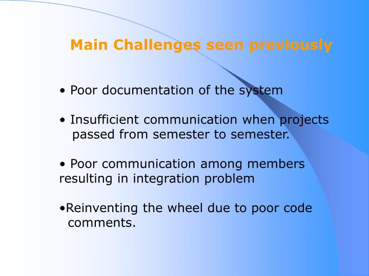 Main Challenges seen previously