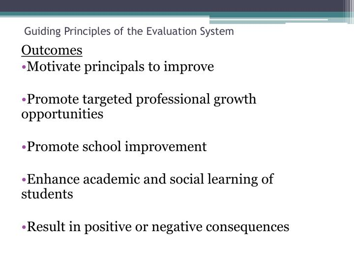 Guiding Principles of the Evaluation System