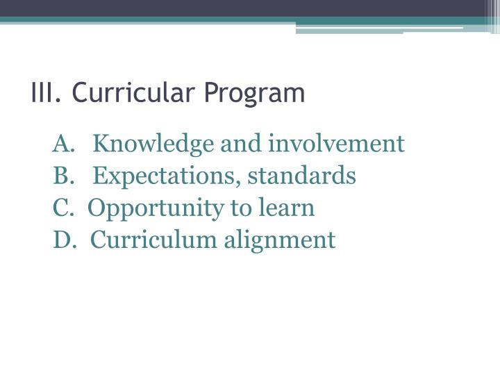 III. Curricular Program