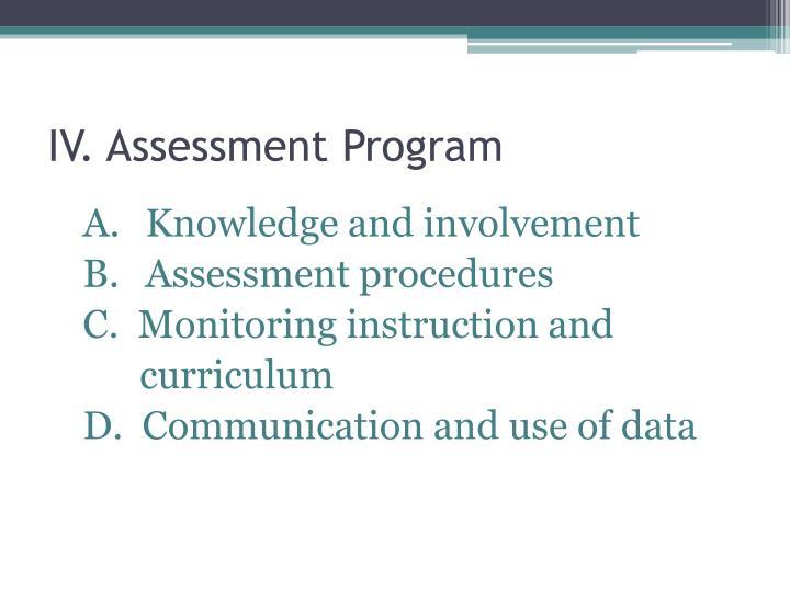 IV. Assessment Program