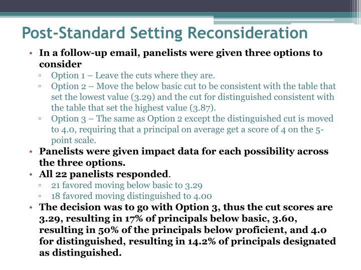 Post-Standard Setting Reconsideration