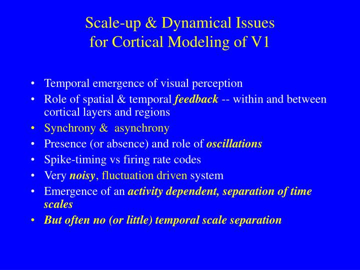 Scale-up & Dynamical Issues