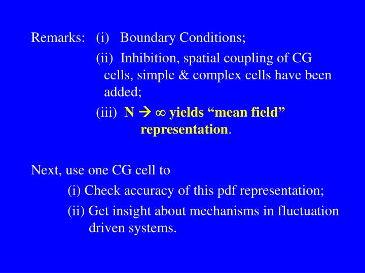 Remarks:   (i)   Boundary Conditions;