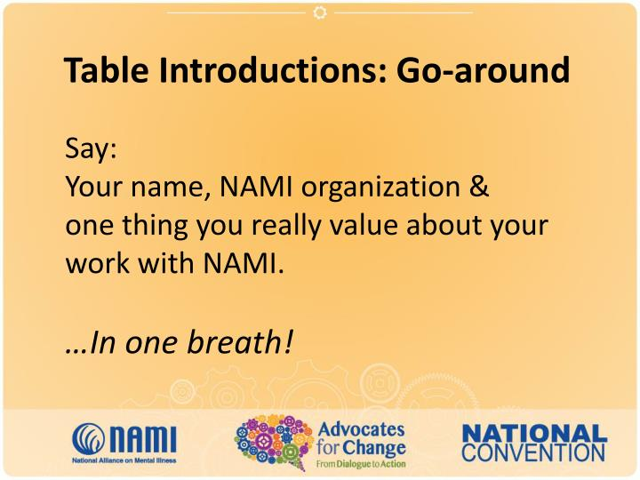 Table Introductions: Go-around