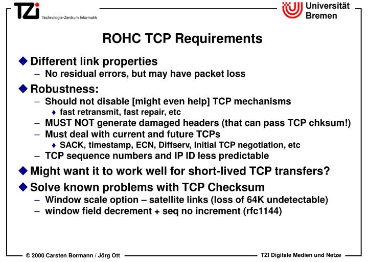ROHC TCP Requirements