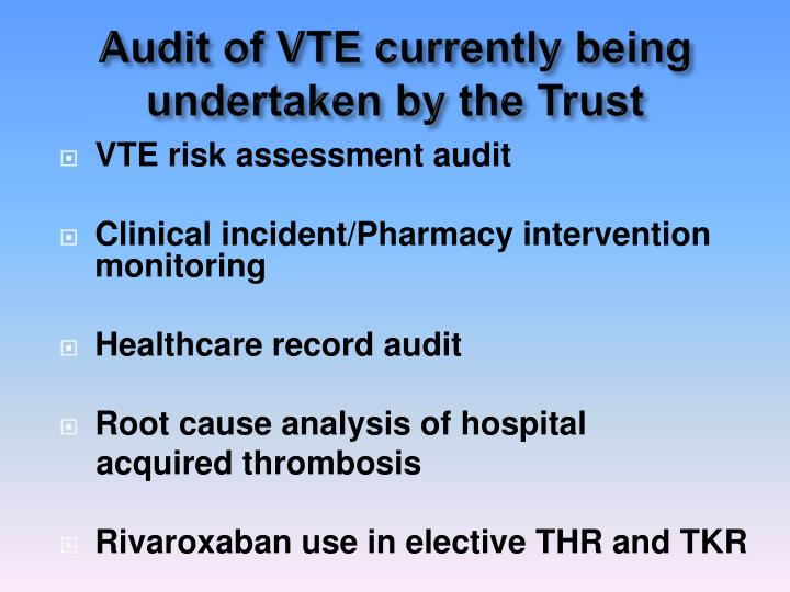 Audit of VTE currently being undertaken by the Trust
