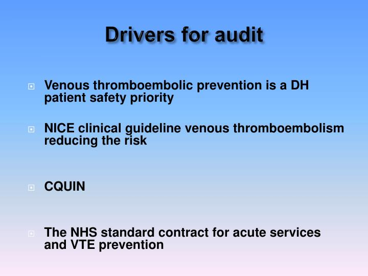 Drivers for audit
