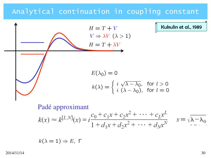 Analytical continuation in coupling constant