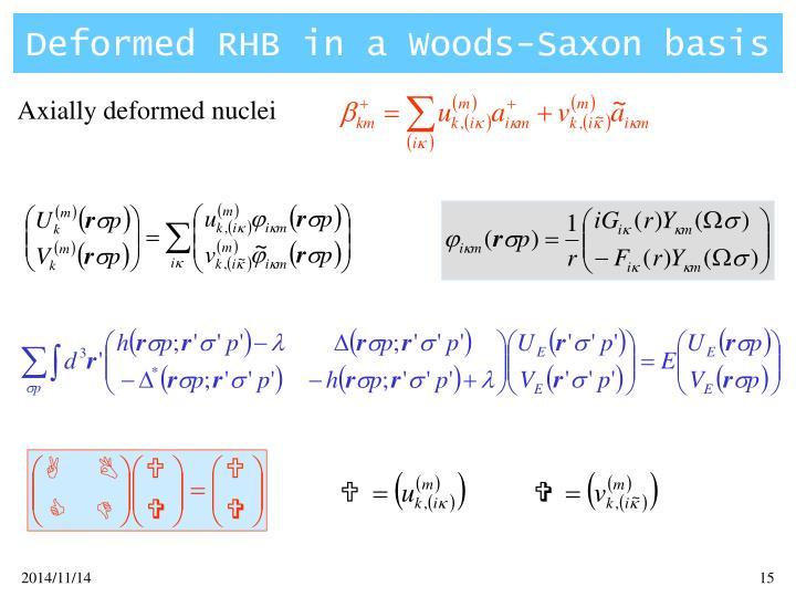 Deformed RHB in a Woods-Saxon basis