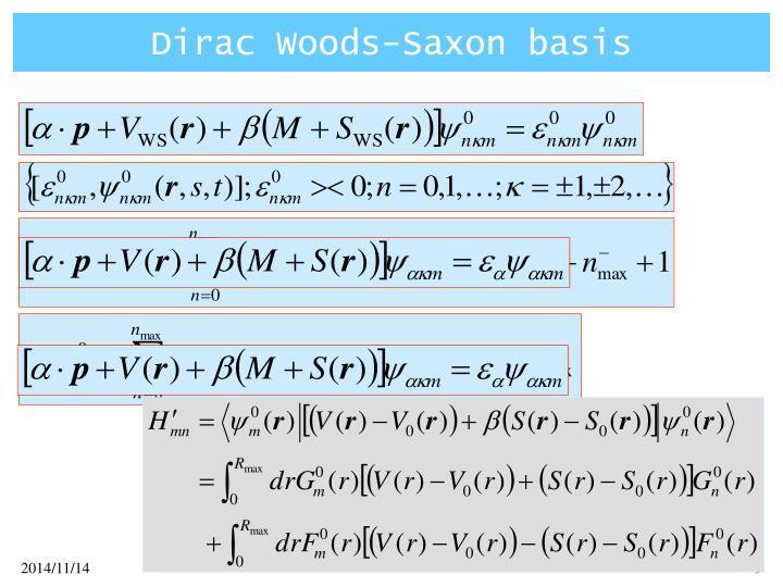 Dirac Woods-Saxon basis