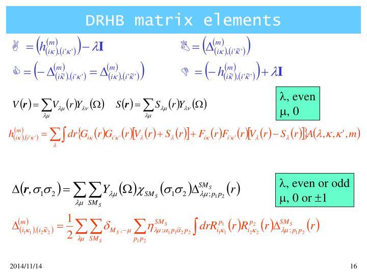 DRHB matrix elements