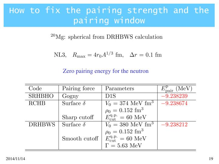 How to fix the pairing strength and the pairing window