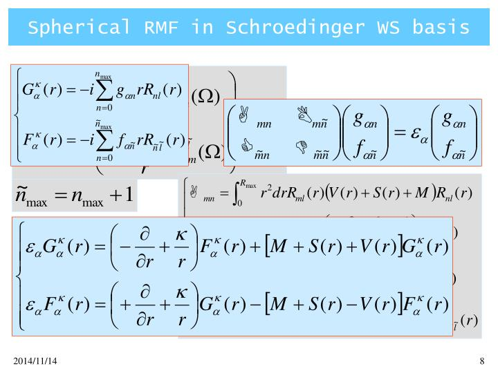 Spherical RMF in Schroedinger WS basis