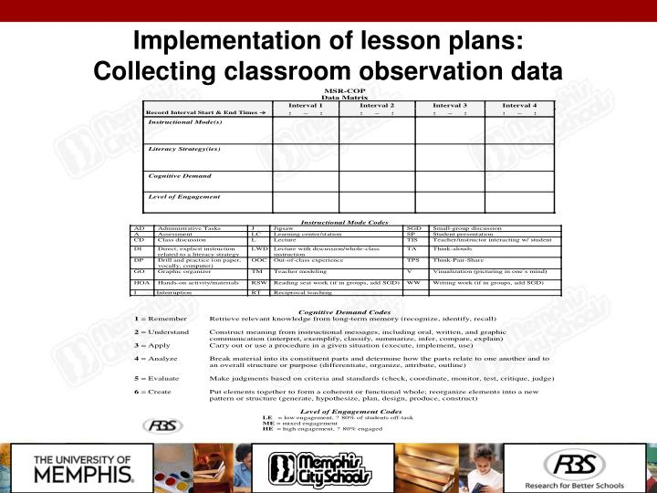 Implementation of lesson plans: