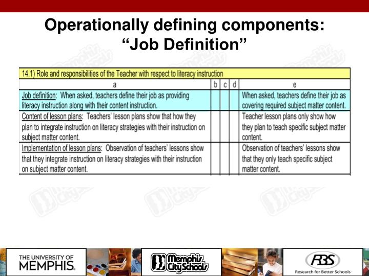 Operationally defining components:
