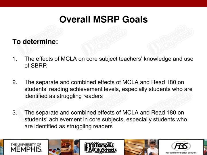 Overall MSRP Goals