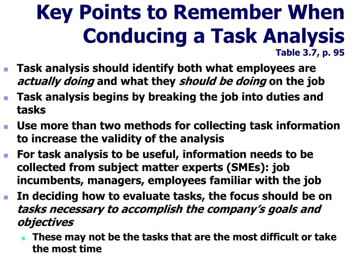 Key Points to Remember When Conducing a Task Analysis