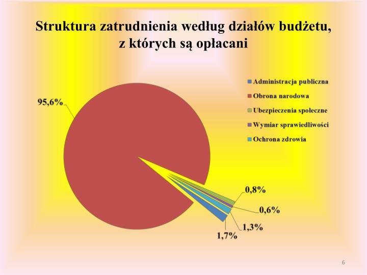 Struktura zatrudnienia według działów budżetu,
