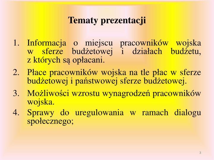 Tematy prezentacji