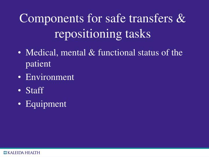 Components for safe transfers & repositioning tasks