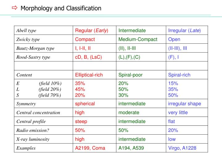 Morphology and Classification