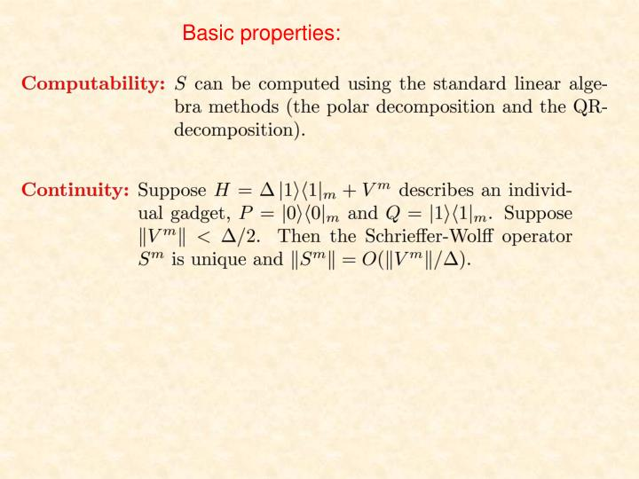 Basic properties: