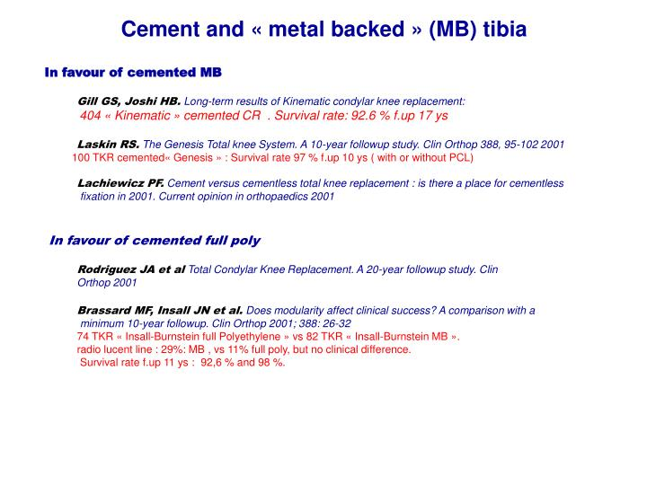 Cement and « metal backed » (MB) tibia