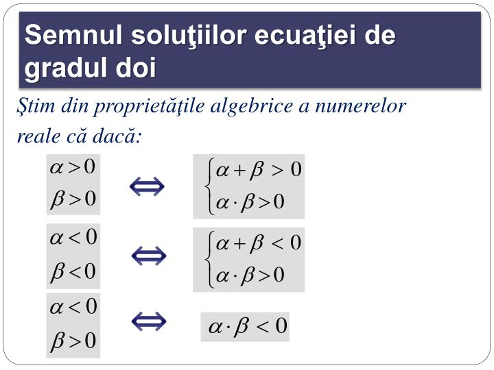 Semnul soluţiilor ecuaţiei de gradul doi