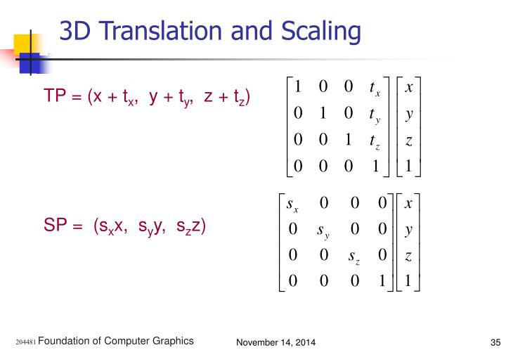 3D Translation and Scaling