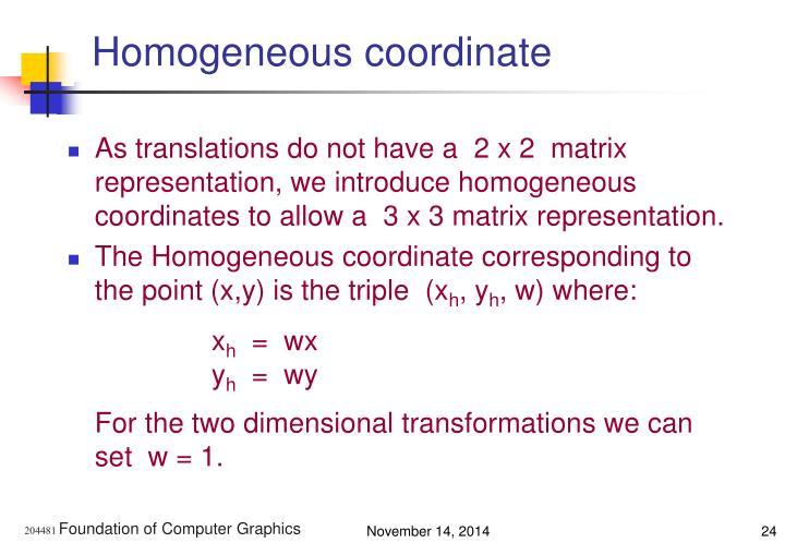 Homogeneous coordinate