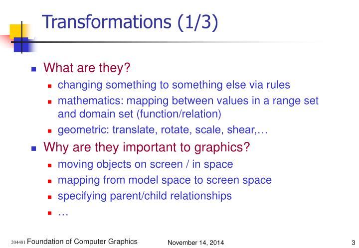 Transformations (1/3)
