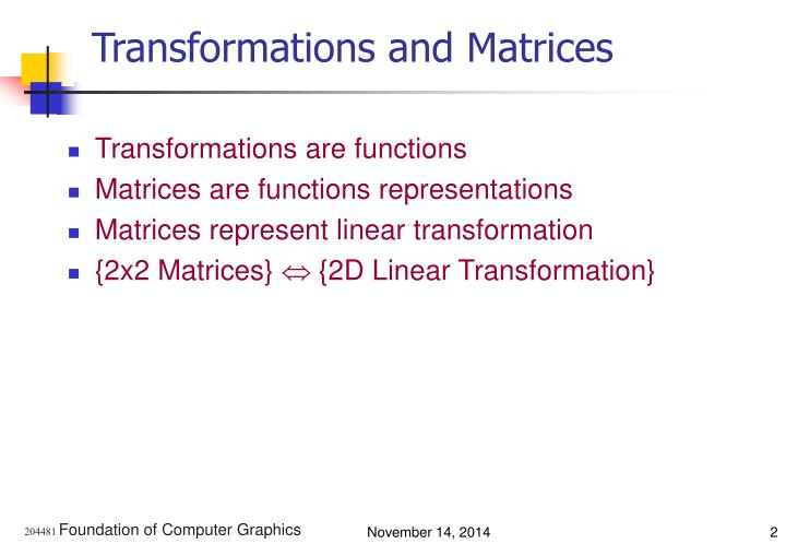 Transformations and Matrices