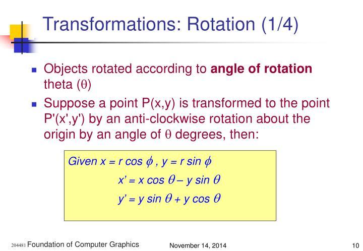 Transformations: Rotation (1/4)