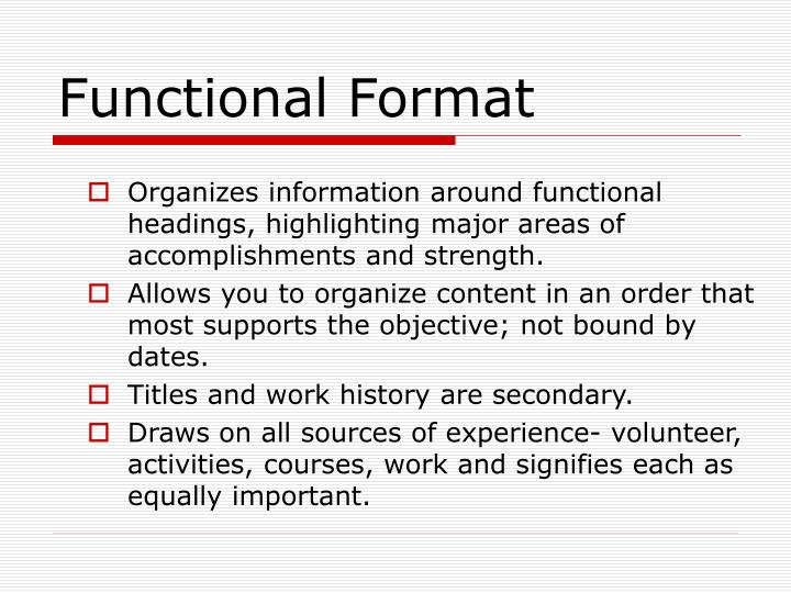 Functional Format