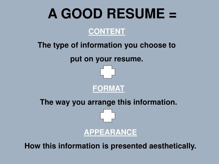 A GOOD RESUME =