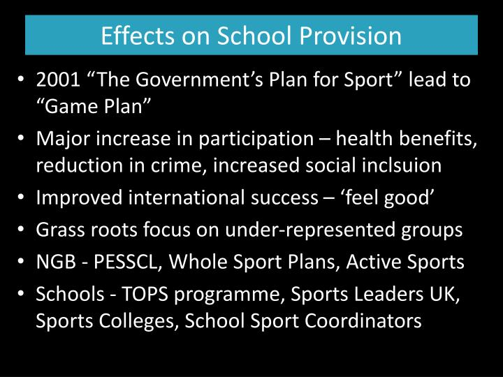 Effects on School Provision