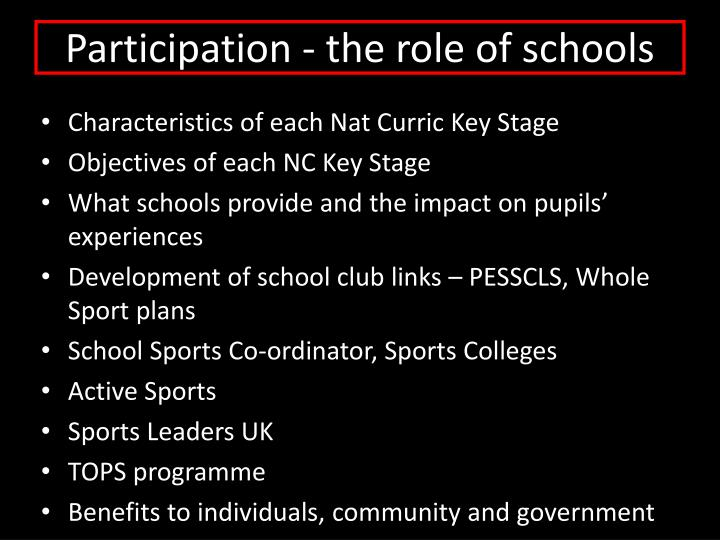 Participation - the role of schools