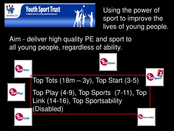 Using the power of sport to improve the lives of young people.