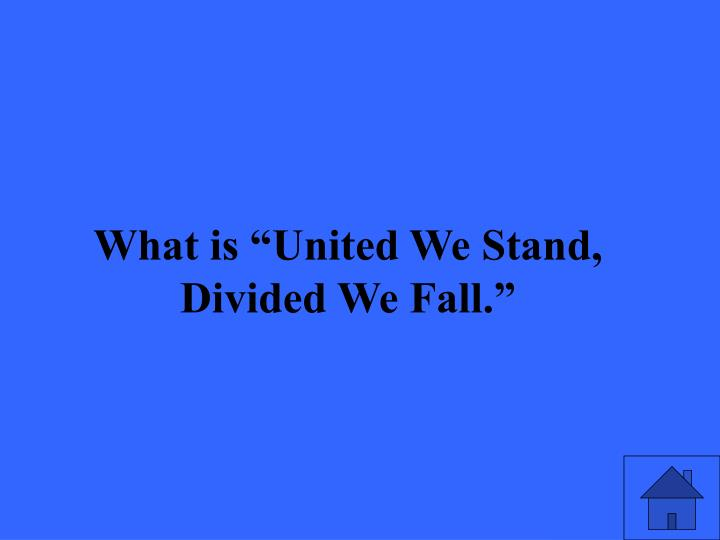 """What is """"United We Stand, Divided We Fall."""""""