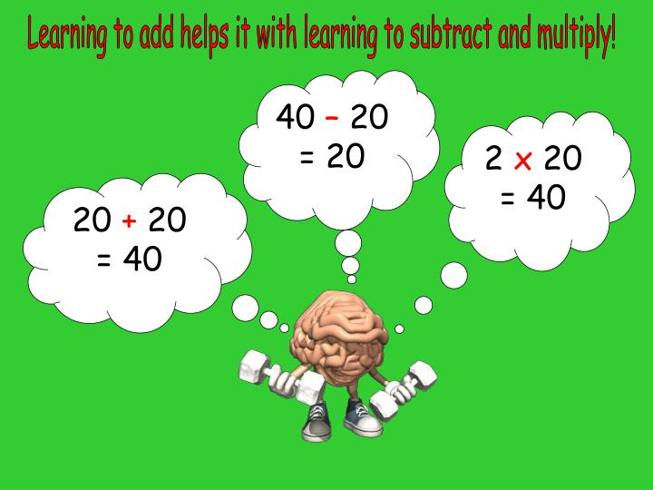 Learning to add helps it with learning to subtract and multiply!