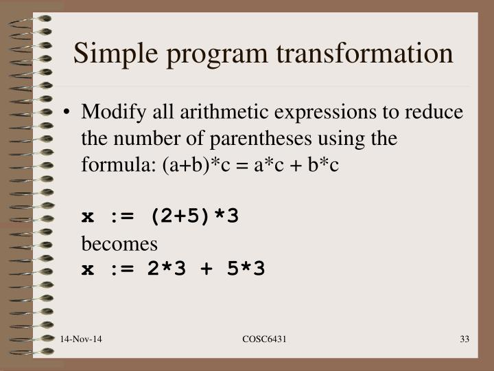 Simple program transformation