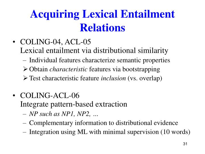 Acquiring Lexical Entailment Relations