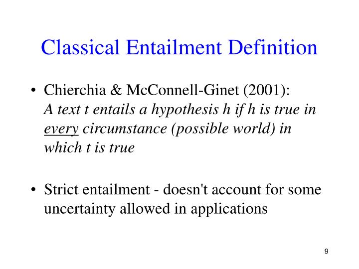 Classical Entailment Definition