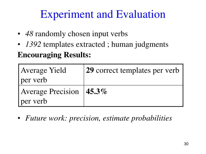 Experiment and Evaluation