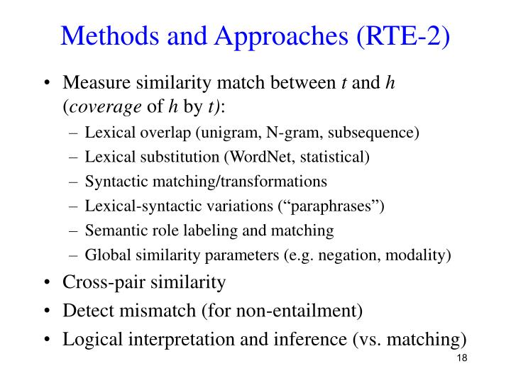 Methods and Approaches (RTE-2)